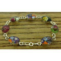 Oval Silver Flower Bracelet