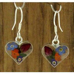 Heart Silver Flower Earrings