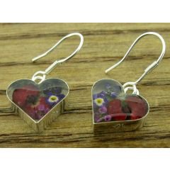 Heart with Poppy & Mixed Flowers Silver Earrings