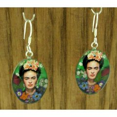 Frida Kahlo with Roses Silver Earrings