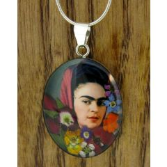 Frida Kahlo with Headscarf Silver Pendant