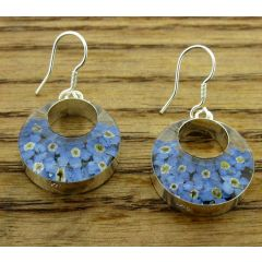 Circle Forget-me-not Silver Flower Hoop Earrings