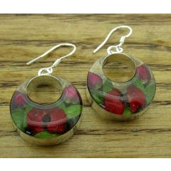 Circle Poppy & Rose Silver Flower Hoop Earrings