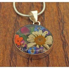 Circle Silver Flower Pendant