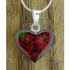 Heart Poppy Silver Flower Pendant (Small) (270)