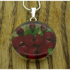 Circle Poppy & Rose Silver Flower Pendant (Large) (307)