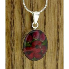 Oval Poppy and Rose Silver Flower Pendant (Small) (309)
