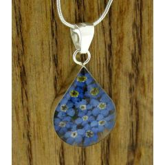 Teardrop Forget-me-not Silver Pendant