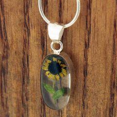 Long Oval Sunflower Handmade Pendant