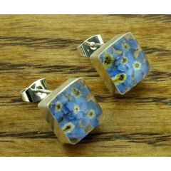 Square Foirget-me-not Silver Stud Earrings