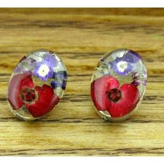 Oval Real Flower Silver Stud Earring