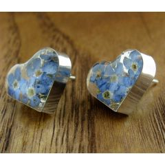 Heart Forget-me-not Silver Stud Earrings