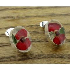 Oval Poppy Silver Stud Flower Earring