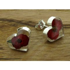 Heart Poppy Silver Stud Flower Earrins