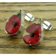 Teadrop Poppy Silver Stud Earrings