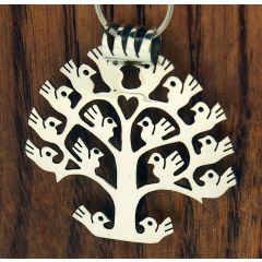 Orbed Handmade Tree of Life Silver Pendant