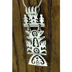Rectangular Tree of LIfe Silver Pendant
