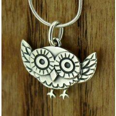 Owl in Flight Silver Pendant