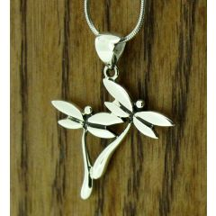 Dragonfly Duo Silver Pendant