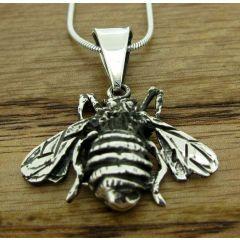 Oxidised Silver Bee Pendant (Small)