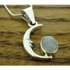 Moonstone Moon Silver Pendant