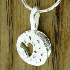 Imprinted Heart Silver Pendant