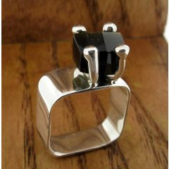 Mexican Handmade Silver Ring with Obsidian