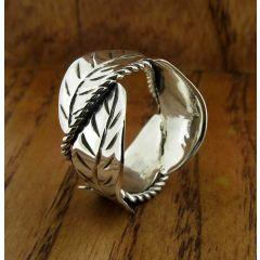 Leaf Twirl Sterling Silver Ring