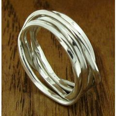 Narrow Knotted Silver Band Ring