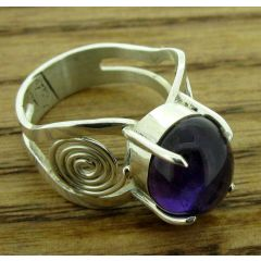 Spiral Farmed Amethyst Silver Ring
