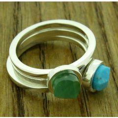 Faceted semi precious silver ring