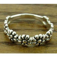 8 Flower Silver Ring