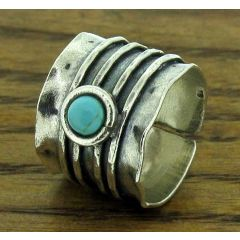 Lined Silver Ring with Turquoise