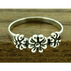 3 Flower Silver Ring