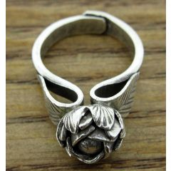 Sleeping Rose Silver Ring