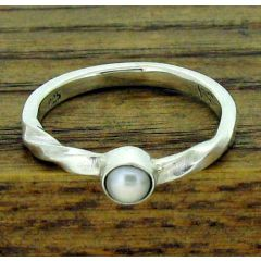 Twisted Pearl Silver Ring