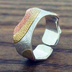 Copper & Brass Rainbow Silver Ring