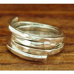 Hammered Strands Silver Ring