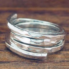 Hammered Strands Silver Ring