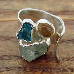 Blue Apatite, Aquamarine & Citrine Silver Ring