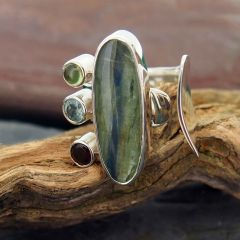 Chunky Silver Ring with Stones