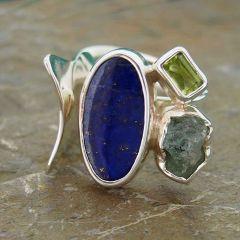 Lapis Lazuli, Peridot & Blue Apatite Silver Ring