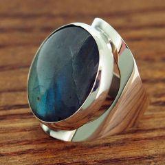 Chunky Silver Labradorite Ring