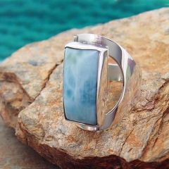 Larimar Rectangle Silver Ring