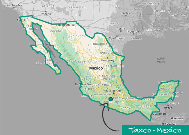 Map of Taxco, Guerrero - in Mexico - Silver Bubble Jewellery